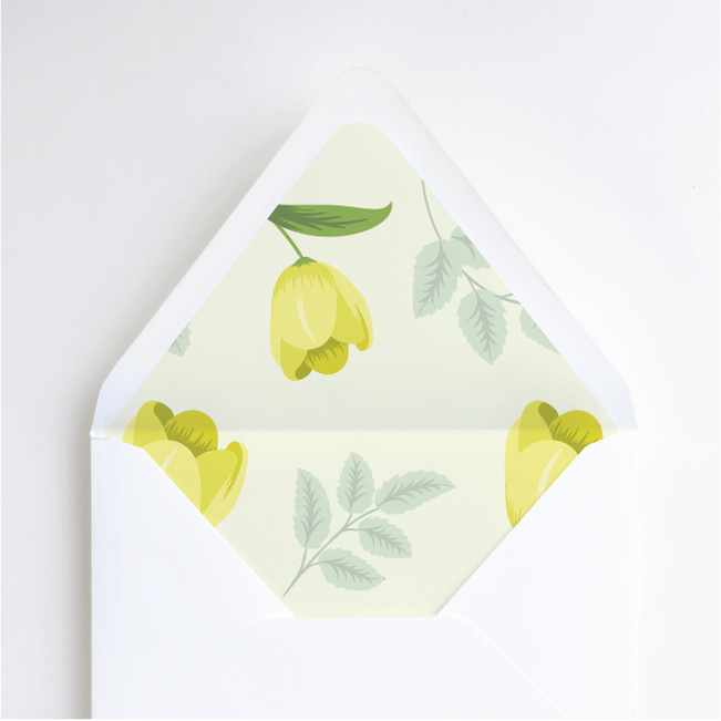 Retro Floret Wedding Envelope Liners - Yellow