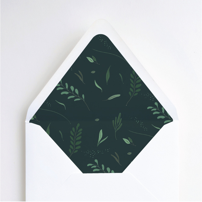 Rustic Forest Wedding Envelope Liners - Green
