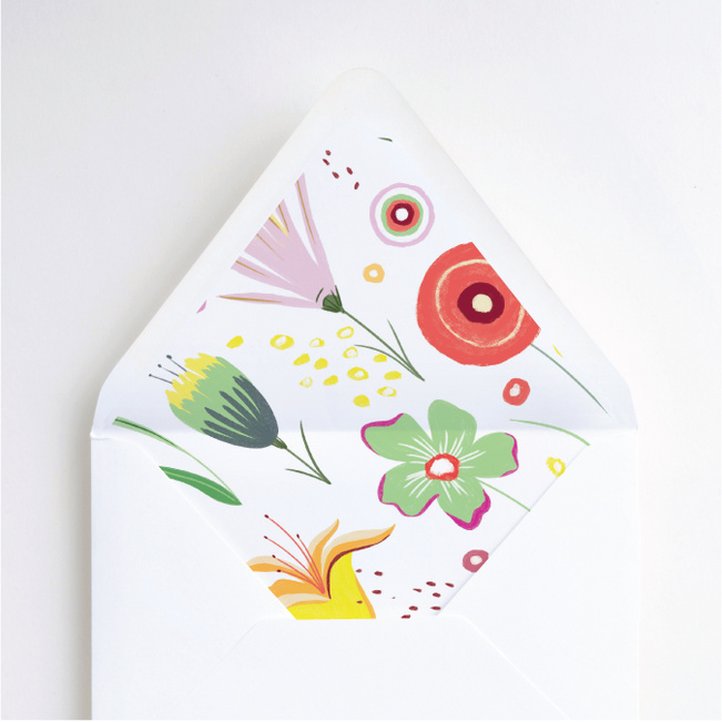 Vibrant Botanicals Wedding Envelope Liners - Multi