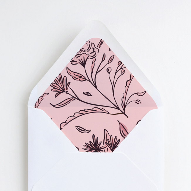 Vintage Frame Wedding Envelope Liners - Pink