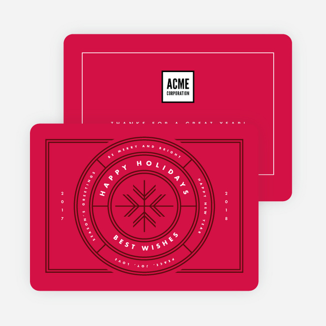 All Around Wishes Corporate Holiday Cards - Red