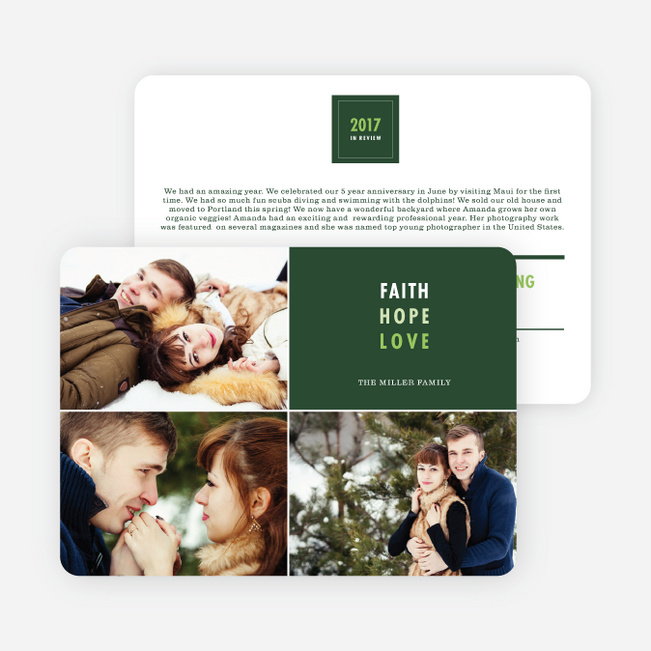 Year in Review Holiday Cards - Green