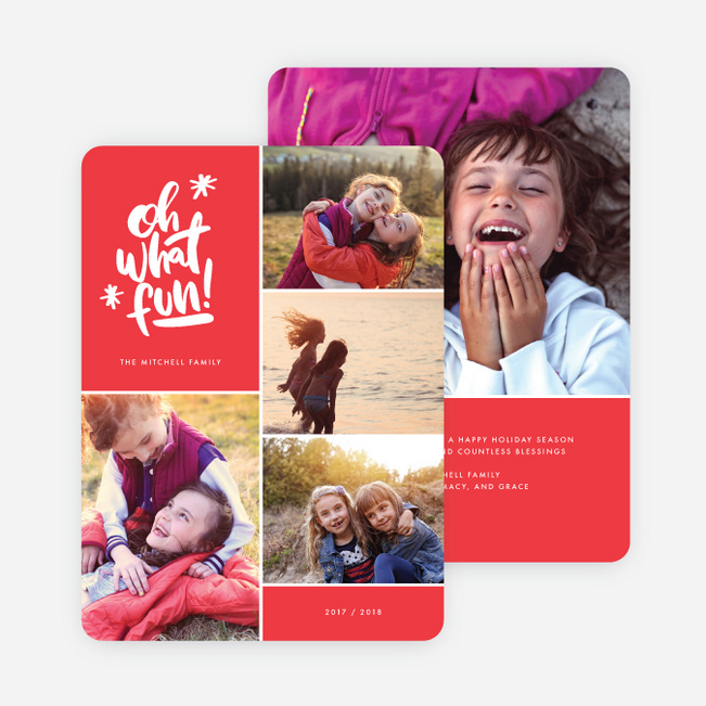 Cheery Grid Holiday Cards - Red
