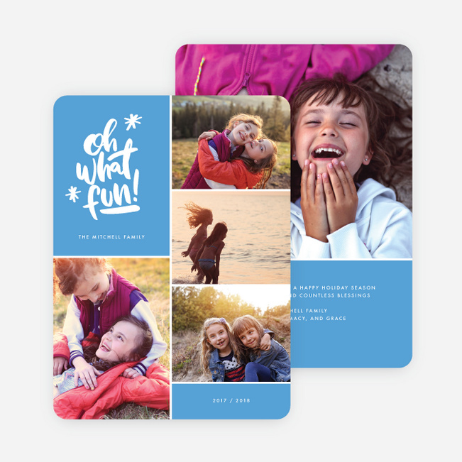 Cheery Grid Holiday Cards - Blue