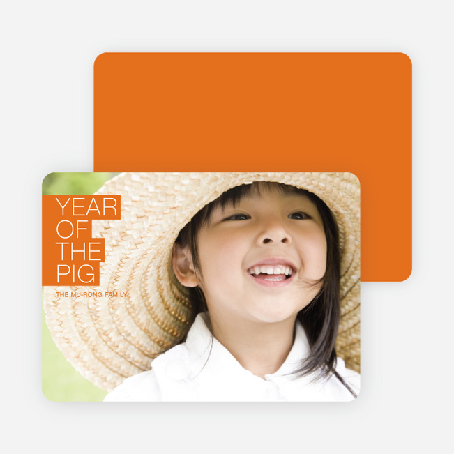 Year of the Pig – Simply Chinese New Year Cards - Orange