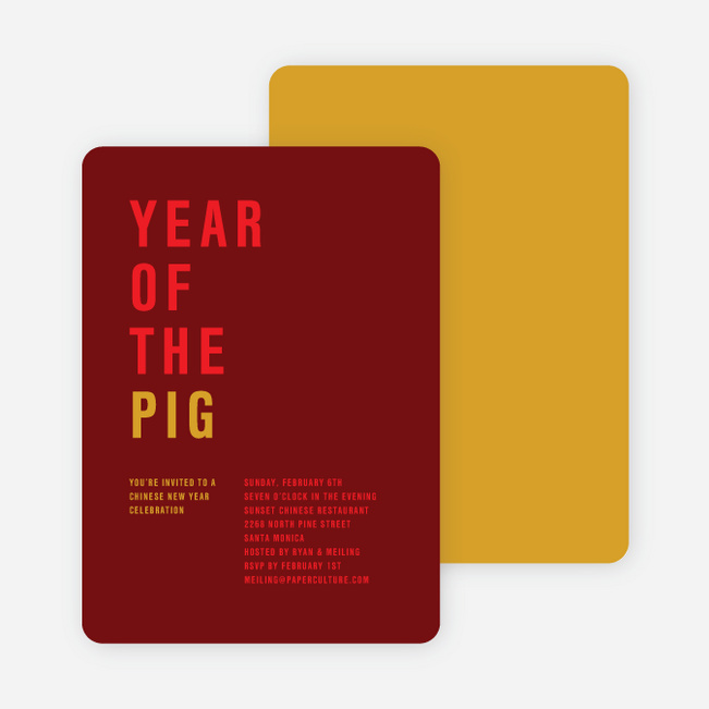 Year of the Pig – Storyline Cards - Red