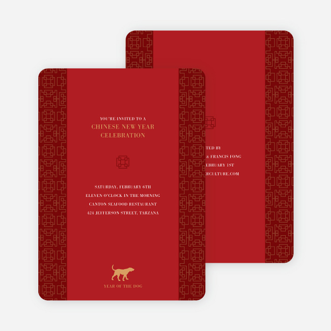 Year of the Dog – Traditional Chinese New Year Cards - Red