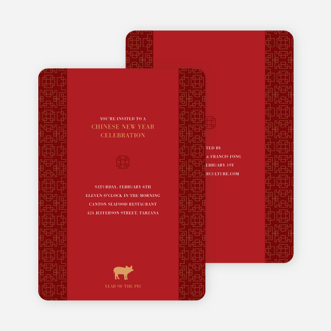 Year of the Pig – Traditional Chinese New Year Cards - Red