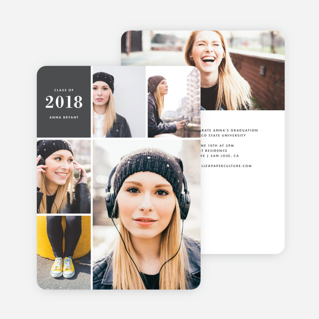 Photo Board Graduation Invitations - Gray