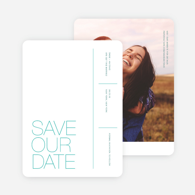 Stacked Type Save The Dates - Green