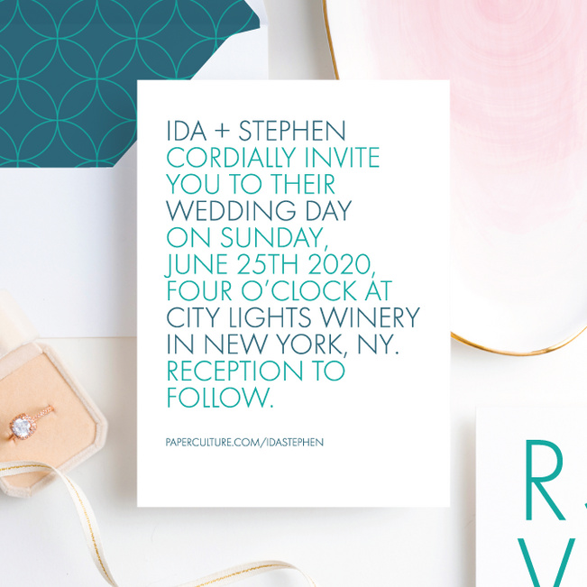 All Caps Wedding Response Addressing. - Green