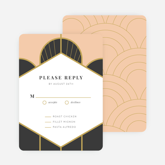 Deco Arches Wedding Response Cards - Pink