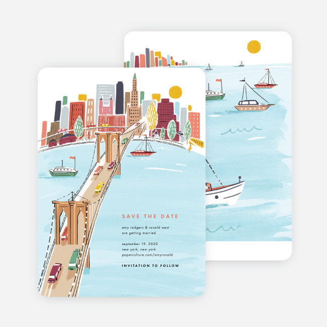 Brooklyn Bridge Views Save the Date Cards - Multi