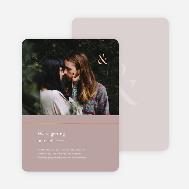 Foil Cornerside Save the Date Cards - Pink