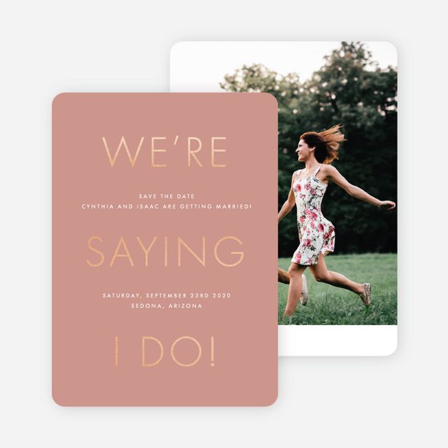 Foil Perfect Union Save the Date Cards - Pink