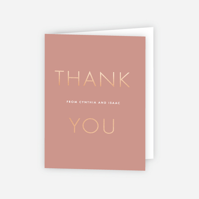 Foil Perfect Union Wedding Thank You Cards - Pink