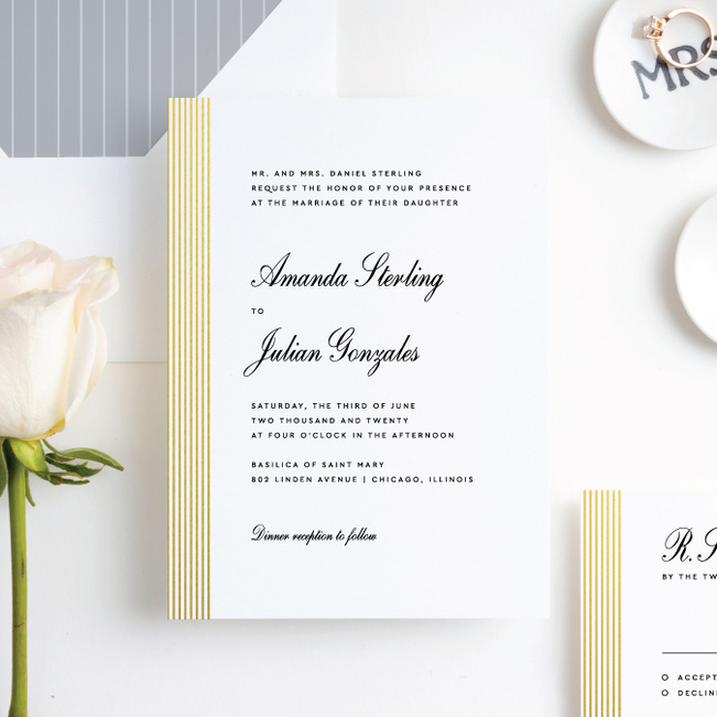 Foil Sidebar Wedding Wedding Invitation Suites - Yellow