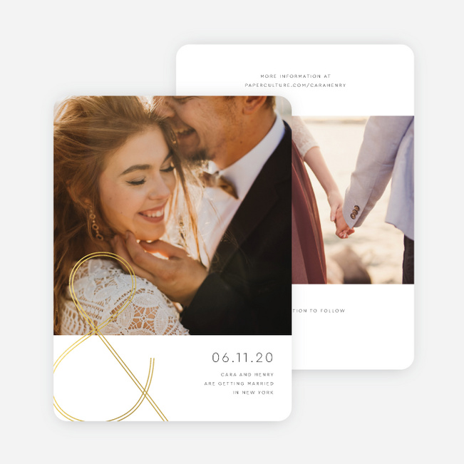 Foil You & Me Wedding Save the Date Cards - Yellow