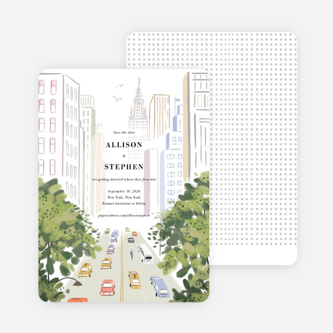 Madison Avenue Save the Date Cards - Multi