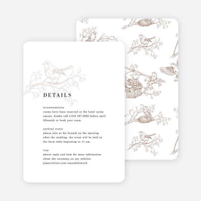 Nesting Birds Wedding Information Cards - Black