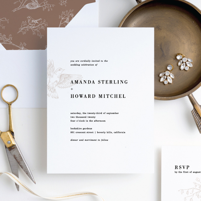 Nesting Birds Wedding Invitation Suites - Black