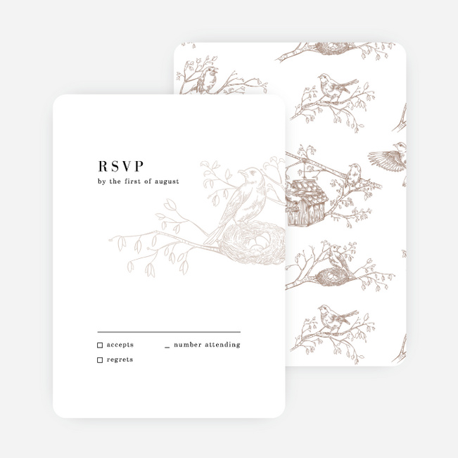 Nesting Birds Wedding Response Cards - Black