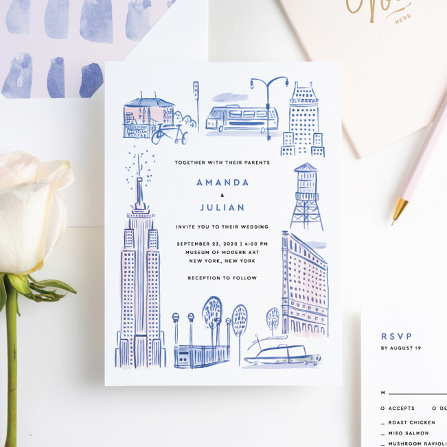 NYC Landmarks Wedding Invitation Suites - Blue