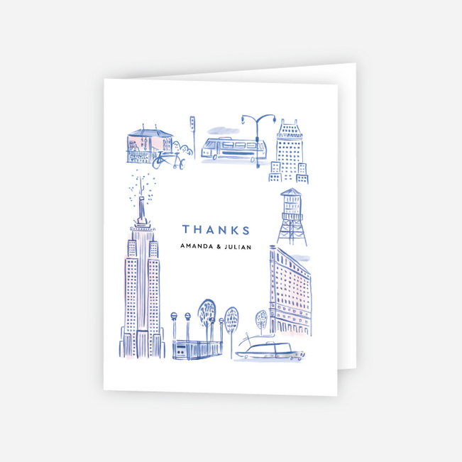 NYC Landmarks Wedding Thank You Cards - Blue