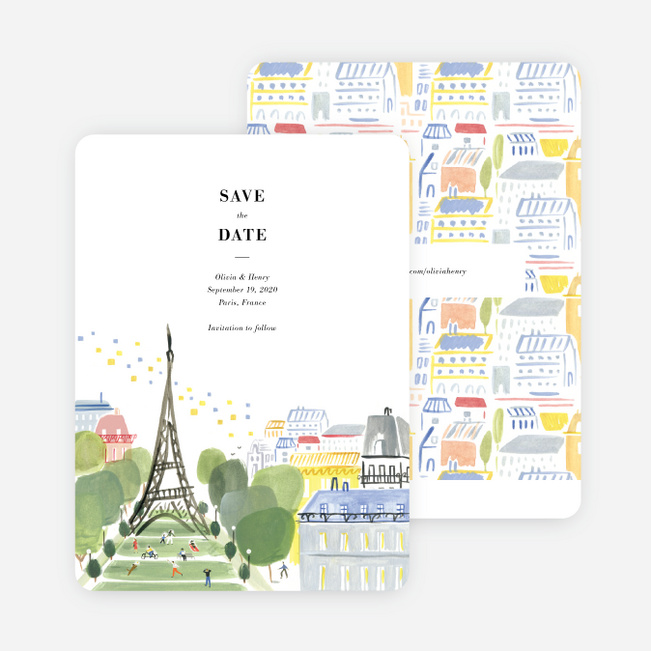 Paris Connection Save the Date Cards - Multi
