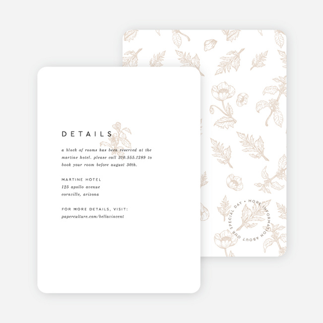 Vintage Print Wedding Information Cards - Beige