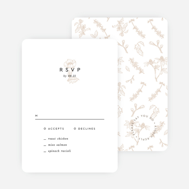 Vintage Print Wedding Response Cards - Beige