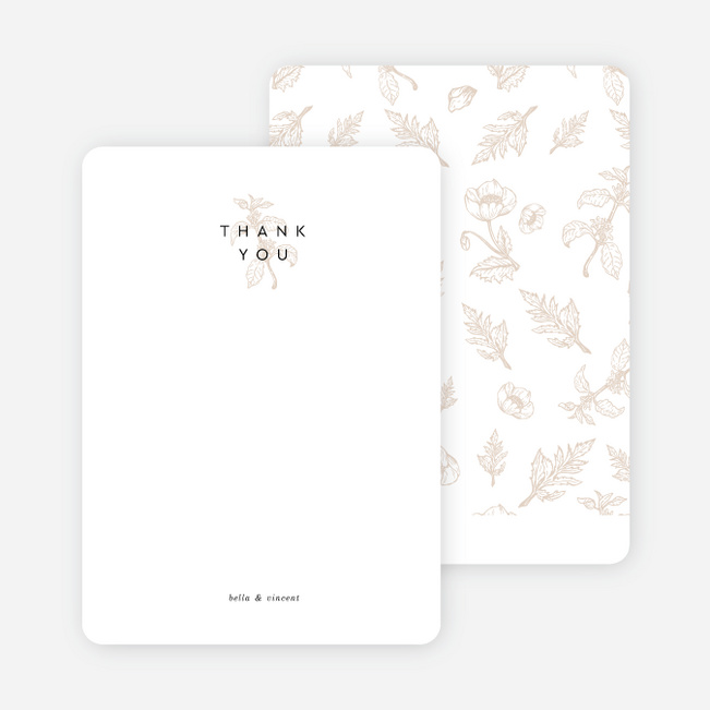 Vintage Print Wedding Thank You Cards - Beige