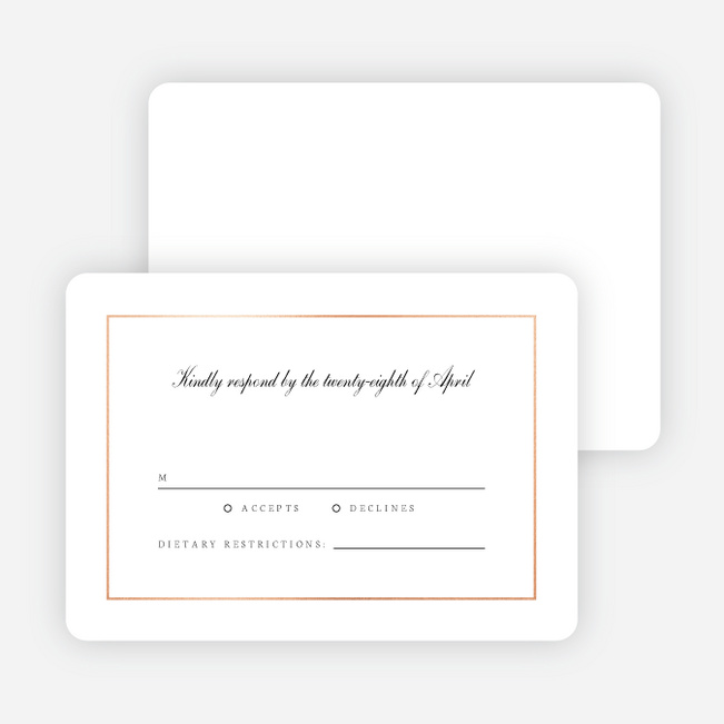 Classic Style Wedding Response Cards - Pink