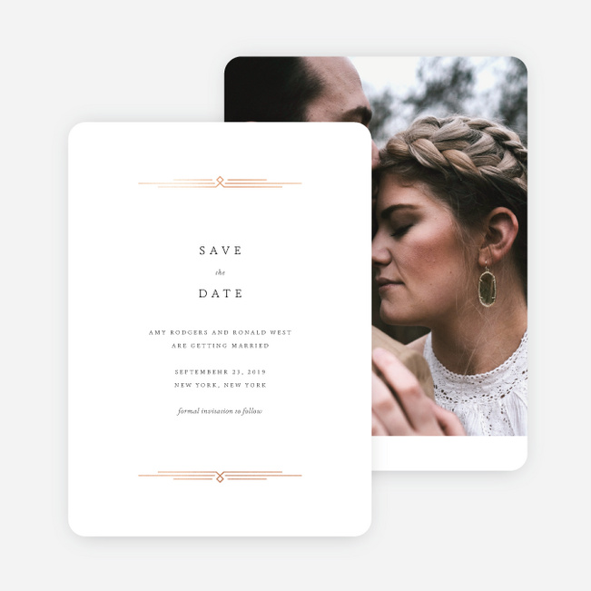 Foil Classically Stated Rustic Save the Date Cards - Blue