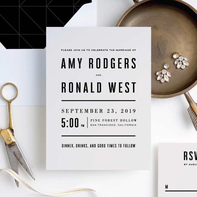 Modern Times Wedding Invitation Suites - Beige