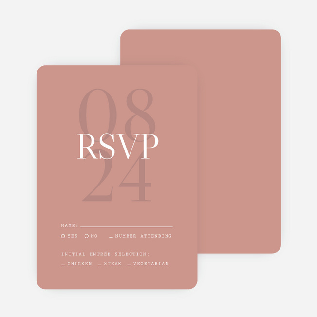 Shadow Details Wedding Response Cards - Pink
