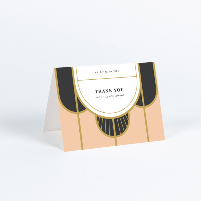 Deco Arches Wedding Thank You Cards - Pink