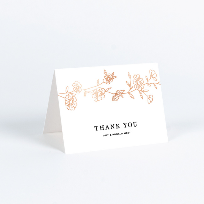 Elegant Roses Wedding Thank You Cards - Brown