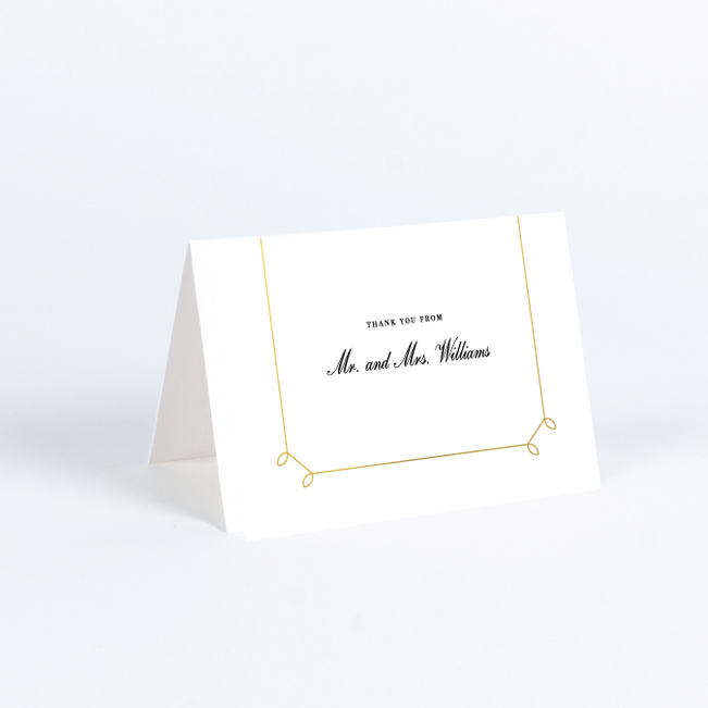 Foil Elegant Scroll Wedding Thank You