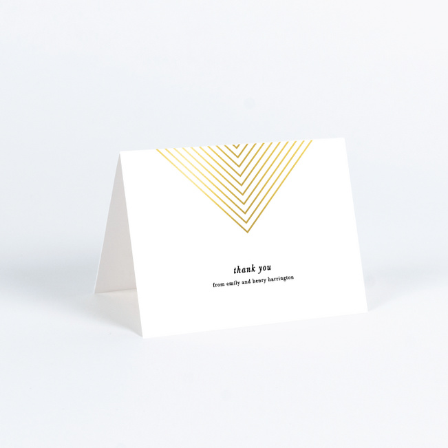 Foil Mirrored Angles Wedding Thank You Cards - Yellow