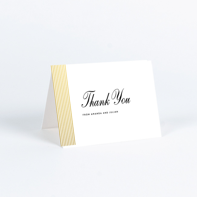 Foil Sidebar Wedding Wedding Thank You Cards - Yellow