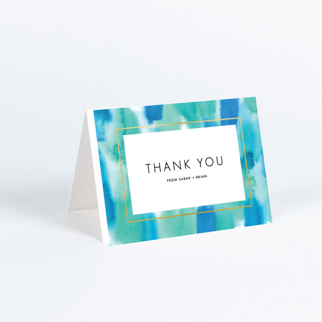 Infused Watercolors Wedding Thank You Cards - Blue