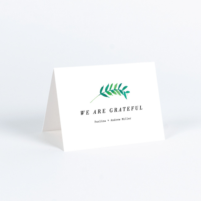 Minimal Laurel Wedding Thank You Cards - White