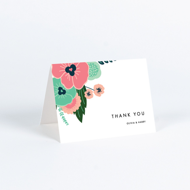 Sample Thank You Cards For Wedding Gifts: Modern Bouquet Wedding Thank You Cards