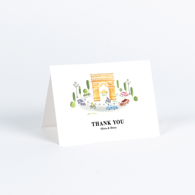 Paris Connection Wedding Thank You Cards - Multi