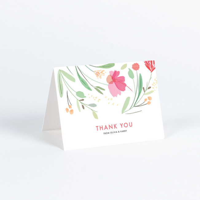 Baby Shower thank you watercolor floral thank you card with lined envelope Bridal Shower thank you rustic romance flowers