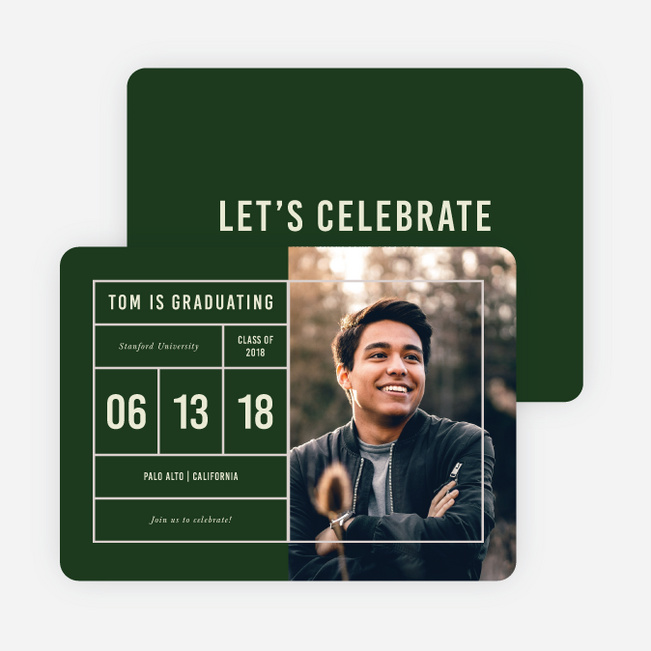 Ticket to Freedom Graduation Announcements - Green