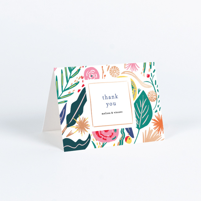 Tropical Print Wedding Thank You Cards - Multi