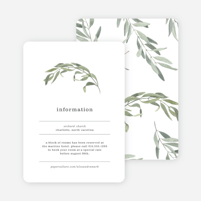 Olive You Wedding Information Cards - Green