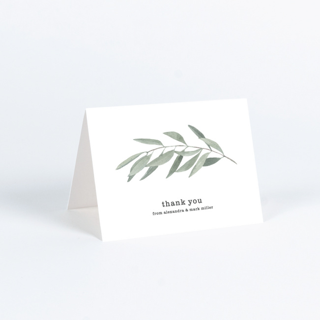Olive You Wedding Thank You Cards - Green